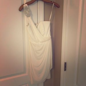 Cache white one shoulder cocktail dress NWT